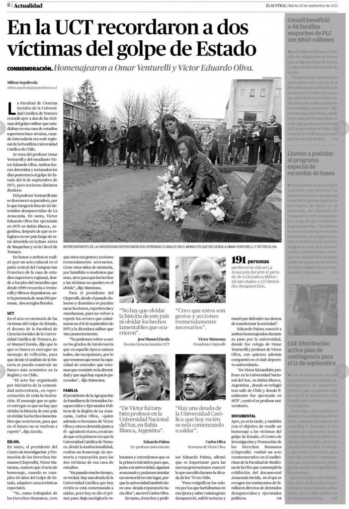 UCT Recuerda victimas del golpe de estado