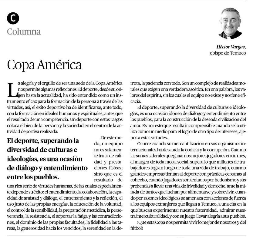 14-06-2015 columna obispo Copa América