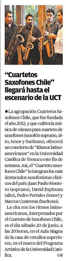 17-06-2015 Cuarteto saxofones Chile llegará hasta el escenario de la UCT