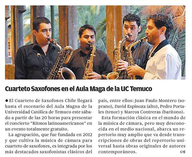 19-06-2015 Cuarteto saxofones en el Aula Magna de la UC Temuco