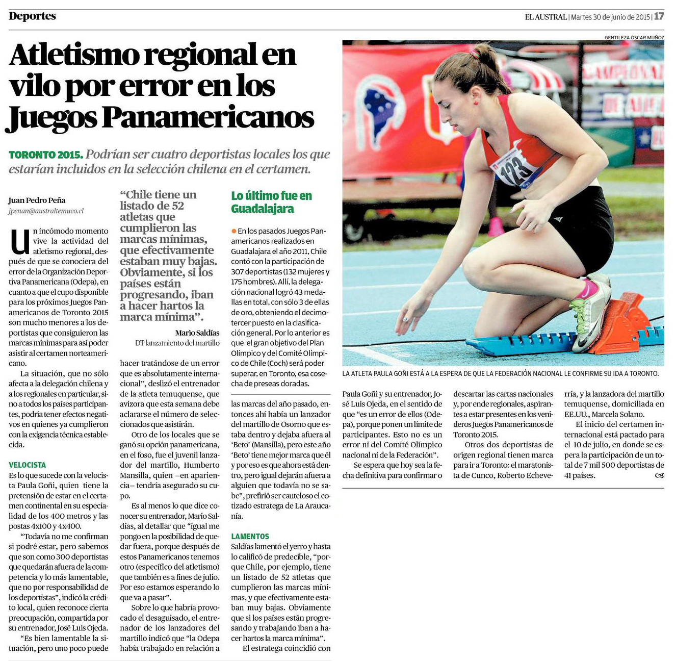 30-06-2015 Atletismo regional en vilo por error en los Juegos Panamericanos