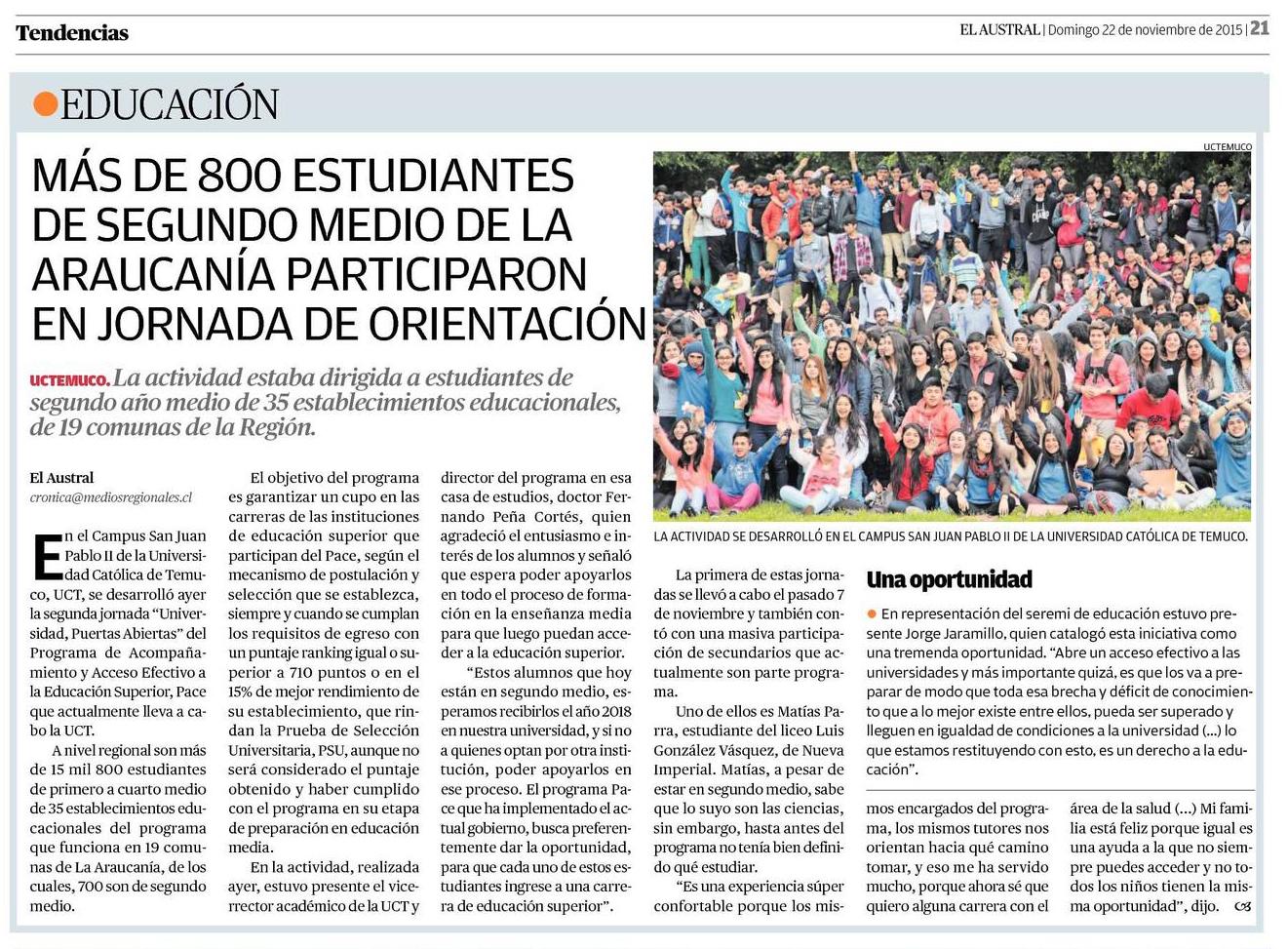 22-11-2015 Más de 800 estudiantes de segundo medio
